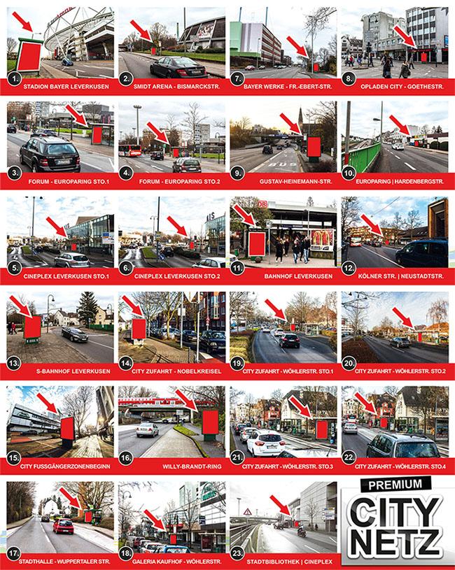 Außenwerbung Leverkusen, Werbung günstig und effektiv, erfolgreiche Plakatwerbung mit dem City-Netz-LEV von PLAKAT-WERBUNG.DE